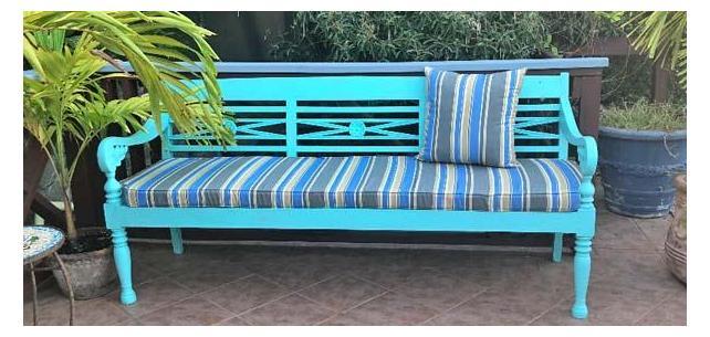 Robert Allen Sunbrella Boca Linda Blue Tide a Great Choice for Outdoor Bench