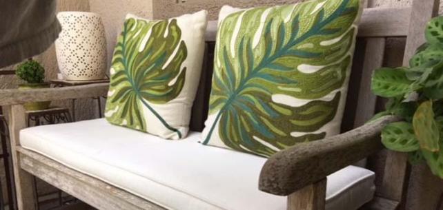 Sunbrella Canvas Natural Bench Cushion Roots Tropical-Inspired Balcony