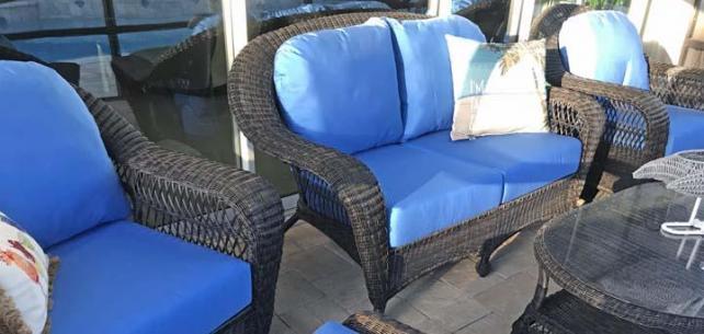 Patio Chair and Ottoman Cushions Upgraded With Bright Sunbrella Canvas Capri