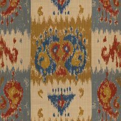 Lee Jofa Sunbrella Izmir Ikat Sapphire / Red 2013109-519 Upholstery Fabric