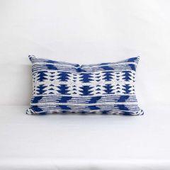 Indoor/Outdoor Silver State Sunbrella Arapaho Moonbeam - 20x12 Horizontal Stripes Throw Pillow (quick ship)