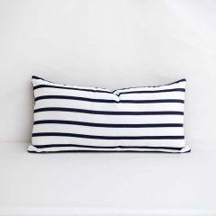 Indoor/Outdoor Sunbrella Lido Indigo - 24x12 Horizontal Stripes Throw Pillow (quick ship)