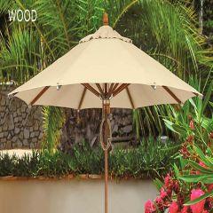 Fiberbuilt 9ft Octagon Wood Market Umbrella With Sunbrella Fabric