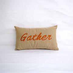 Sunbrella Monogrammed Holiday Pillow - 20x12 - Thanksgiving - Gather - Orange on Beige