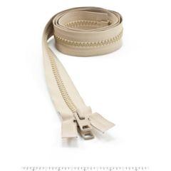 YKK Vislon #10 Separating Zipper AutoLok Short Double Pull Metal Slider VFUVOL-107 DX E 30 inch Light Beige