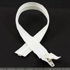 YKK Vislon #10 Separating Zipper AutoLok Double Pull Plastic Slider VFUVOL 107TX 24 inch White