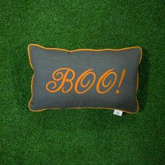 Sunbrella Monogrammed Holiday Pillow - 20x12 - Halloween - Boo - Orange on Dark Grey with Orange Welt