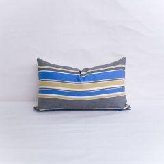 Indoor/Outdoor Robert Allen Sunbrella Boca Linda Blue Tide - 20x12 Horizontal Stripes Throw Pillow (quick ship)