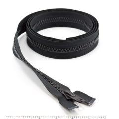 YKK Vislon #10 Separating Zipper AutoLok Short Single Pull Plastic Slider VFUL106 TA 72 inch Black