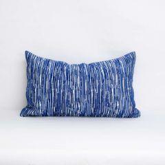 Indoor/Outdoor Silver State Sunbrella Boardwalk Indigo - 20x12 Vertical Stripes Throw Pillow (quick ship)